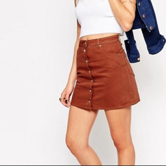 e42b7d9180 ASOS Dresses & Skirts - NWT ASOS | Rust Denim Dolly Button Skirt ...